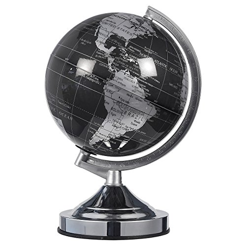 World Globe - 8-inch Black and Silver Political Globe - Spinning and Rotating Desktop Globe with Stand - Great Educational Gift for Kids, Adults, Teachers by Juvale