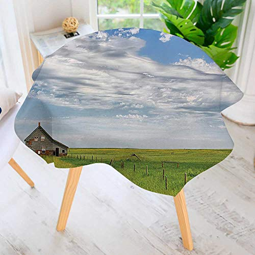 UHOO2018 Circular Table Cover Washable Polyester-Timber House in Terrain Grassland with Clouds in Air Landscape Green Blue Stain Resistant Wrinkle Free Dust Table Cover 35.5