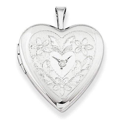 Sterling Silver 20mm Heart & Flowers Diamond Heart Locket