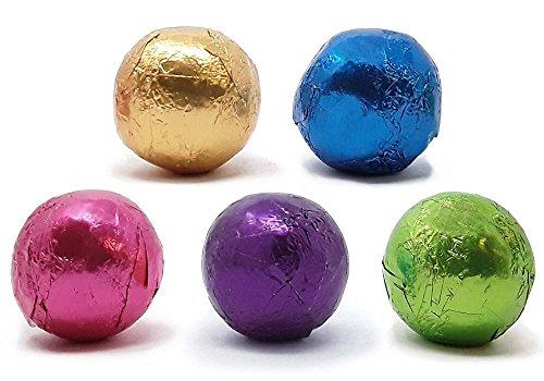 Madelaine Bite-sized Premium Dark Chocolate Christmas Ball Mix, Wrapped In Jewel Toned Italian Foils - 1/2 Pound
