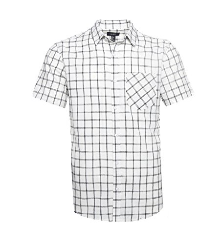 Gilbeti Mens Casual Short Sleeve Linen Cotton Windowpane Plaid Shirt White L