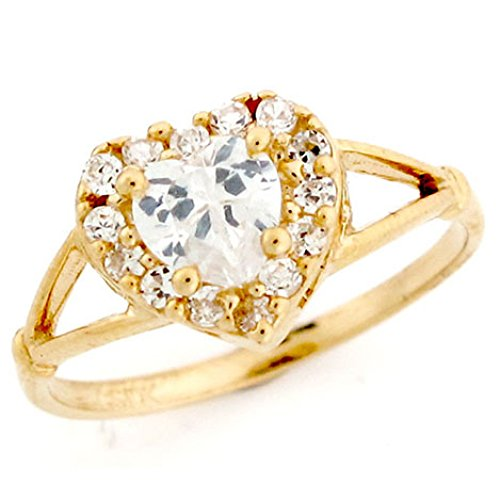 10k Gold Heart Shaped Simulated Birthstone Ring
