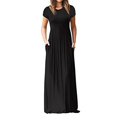 JYC Encaje Elegante Casual Vestido,Verano Suelto Vestido,Vestido Fiesta Mujer Largo Boda, Mujer O Cuello Casual Bolsillos Corto Manga Piso Longitud ...