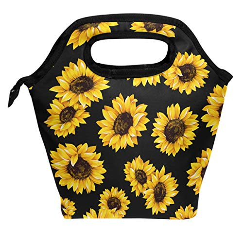 Wamika Spring Sunflowers Retro Flowers Lunch Bag Boxes Tote Insulated Reusable,Tropical Lunch Bag Lunchbox Durable Waterproof Zipper Hangbag Portable for Adult Men Women