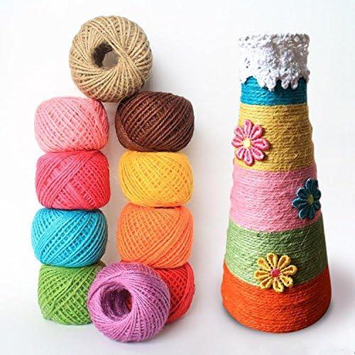 Cuerda de Cáñamo,Cordel Natural Rollo de Cuerda 12 Colores 2 mm 3 ...
