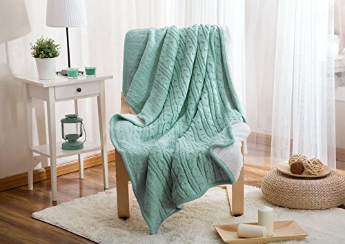 Luxury Cotton Cable Knit Throw Blankets, Bed Blanket by Bedsure-100% Plush Microfiber Warm/Cozy/Fluffy, Lightweight and Easy Care, Couch Blanket, 47x71 Inches Lake (Fleece Dog Coat Pattern)