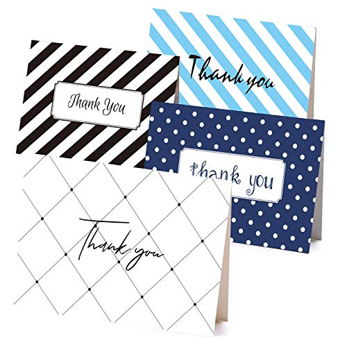 (Retro Thank You Cards Bulk 36 Set, Dots and Stripes Thank You Notes Cards, Navy Blue and Black 6 Chic Designs, Great for Wedding, Baby Shower, Baptism, Graduation, Bridal Shower and Business)