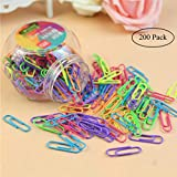 Colored Medium Paper Clips Vinyl Coated, Coideal 200 Pack 1.2 Inch Assorted Color Jumbo Paper Clip Holder/Sheet Holder for Files, Papers, Office Supply