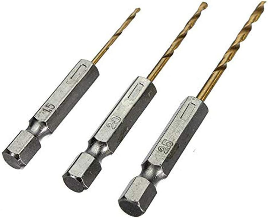 1,5-6,5 mm Schnellarbeitsstahl Titan-beschichteter HSS Bohrersatz 1//4Sechskantschaft Sechskantschaft Schnellbohrkronen 26 teiliges Titan Bohrerset Schnellwechsel