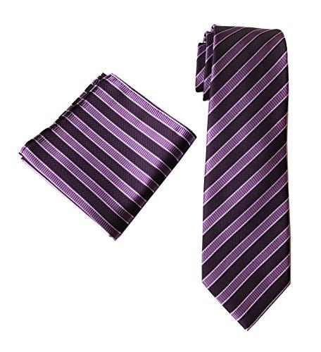 Men Stripe Grape Purple and Lilac Purple Tie Celebrations Necktie for (Blue Gray Stripe Silk Necktie)