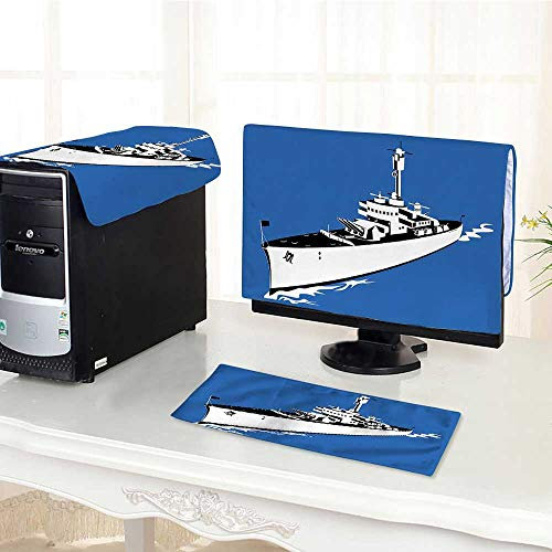 Jiahonghome Computer dust Cover Force War Ship Boat Themed Animation Like Violet dust Cover 3 Pieces Set /25""