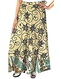 Maple Clothing Two Layers Women's Indian Sari Magic Wrap Around Long Skirt