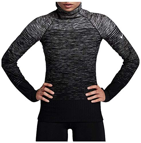 Nike Women's Pro HyperWarm Training Top (Dark Grey/White, XL)