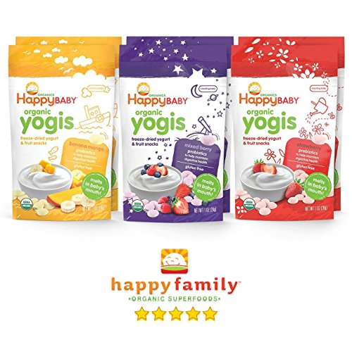 Happy Baby Organic Yogis Variety Pack, Mixed Berry/Strawberry/Banana Mango, 1 oz, 6 count (2 of each flavor)