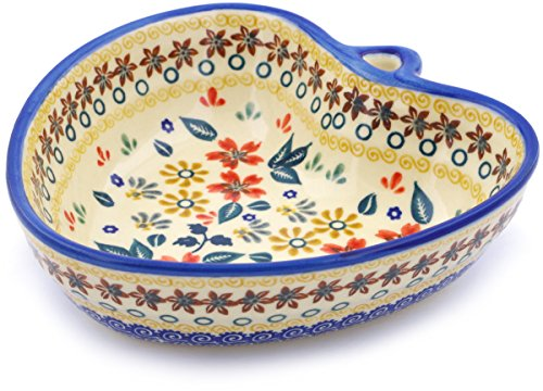 - Polish Pottery 6¼-inch Heart Shaped Bowl (Red Anemone Meadow Theme) + Certificate of Authenticity
