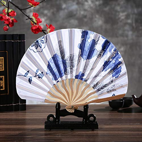(Yhauto Floral Hand Held Folding Hand Fans Flowers Retro Pattern Chinese/Japanese Vintage Silk Folding Fan for Wedding Dancing Party)