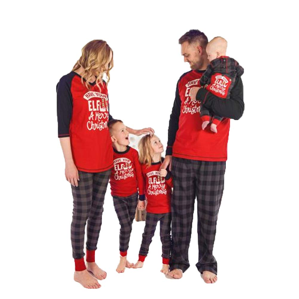 Famiglia Natale Pigiama Matching 2PCS Set Donna Mamma Lettera Stampa Top Camicetta Pantaloni Lunghi Famiglia Pigiama Set Completo A181012QZHT