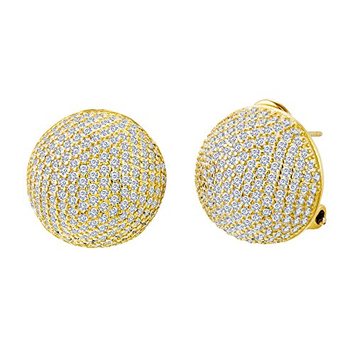 Sterling Silver Pave Cubic Zirconia Half Ball Earrings (18K Gold)
