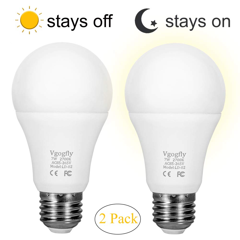 Sensor Lights Bulb Dusk to Dawn LED Light Bulbs Smart Lighting Lamp 7W E26/E27 Automatic On/Off, Indoor/Outdoor Yard Porch Patio Garage Garden (Warm White, 2 Pack) by Vgogfly (Image #1)