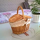 Autobestown Wicker Picnic Basket with Handle and