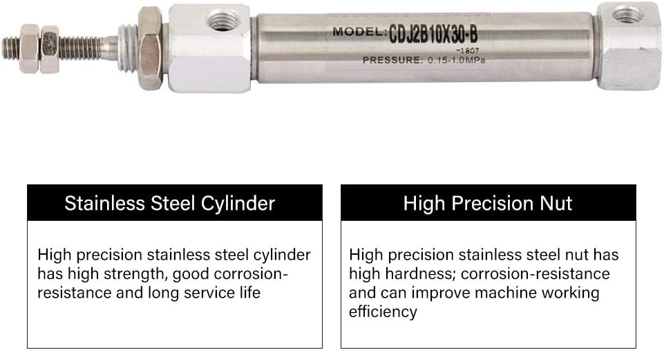 MAGT stainless steel CDJ2B10-30B 10mm Diameter 30mm Stroke Double-acting Pneumatic Air Cylinder Air Cylinder