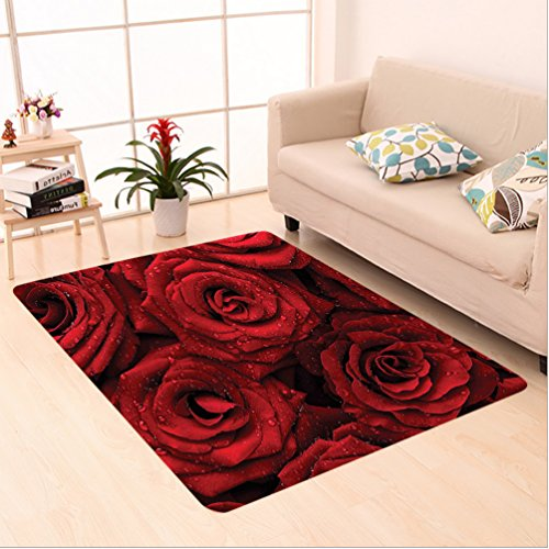 Nalahome Custom carpet d and Black Romantic Eternal Symbol of Love Red Roses with Rain Drops on Petals Photo Print Ruby area rugs for Living Dining Room Bedroom Hallway Office Carpet (5' X 7')