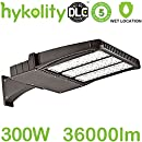 Hykolity 300W LED Parking Lot Light, LED Shoebox Fixture, 36000lm 5700k Photo Optional Outdoor Waterproof Pole Mount light for Large Area Lighting [1000w Equivalent] Arm mount ETL and DLC Listed