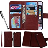 For iPhone 6 6S (4.7''), Urvoix(TM) Wallet Leather Flip Card Holder Case, 2 in 1 Detachable Magnetic Back Cover iPhone 6 (NOT for 6Plus)
