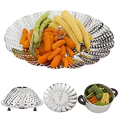 "Vegetable Steamer Basket with Silicone Feet - Collapsible Stainless Steel Asparagus Steamer with Diameter 5,3"" to 9,3"" Fits Most Pots - Steams Vegetables, Fish, Rice & More - Inspires Healthy Eating - Dishwasher Safe"