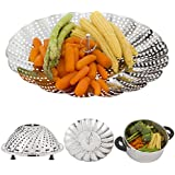 """Vegetable Steamer Basket with Silicone Feet - Stainless Steel Steamer with Diameter 5,3"""" to 9,3"""" Fits Most Pots - Steams Vegetables, Fish, Rice & More - Inspires Healthy Eating - Dishwasher Safe"""