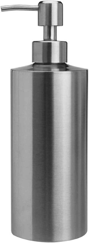 Dispensador de jabón Sinolofty, 304 botella redonda de emulsión líquida de acero inoxidable para cocina, baño, hotel, lavandería (550 ml)