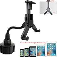 AccessoryBasics Car Bendable Beverage Drinks Cup Holder Mount for Smartphone and Tablets (Apple iPad Pro Air Mini iPhone X 8 7 Plus Samsung Galaxy S8 Plus S7 Edge Note GalaxyTab S E A (All generatons)