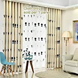WPKIRA Embroidered Curtains Living Room Energy Efficient Semi Blackout Curtain Cute Trees Embroidery Thermal Insulated Curtain Grommet Top Window Treatment Drapes Kids Room 1 Panel W75 x L96 inch