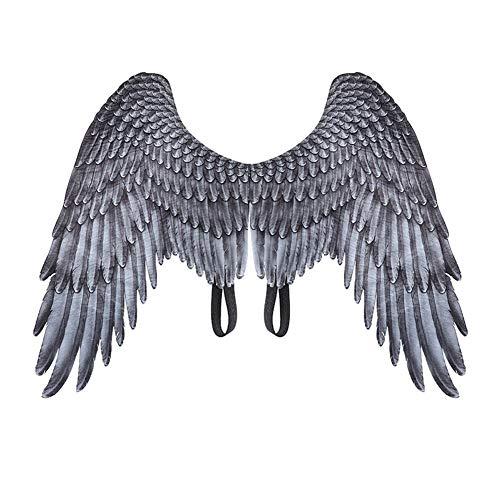 Vantina Unisex 3D Angel Wings Halloween Mardi Gras Costume Accessory White Black for Kids Girls Boys]()