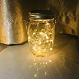 Solar Mason Jar Lights,Remote Control 8 Lighting Modes 20 LEDs waterproof Fairy Firefly String Lights for Mason Jar, Best Patio Yard Party Wedding Decor Lanterns (1-Pack Remote Control (Silver Cap))