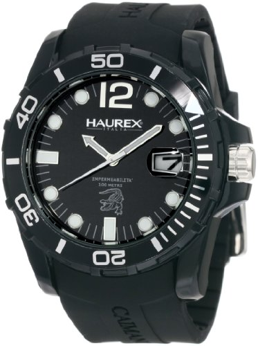 Haurex Italy Men's N1354UNN Caimano Date Black Dial Rubber Sport Watch - Haurex Black Watch