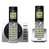 VTech DECT 6.0 Dual Handset Cordless Phone with ITAD, CID, Backlit Keypads and Screens, Full Duplex Handset Speakerphones, Call Block Silver/Black