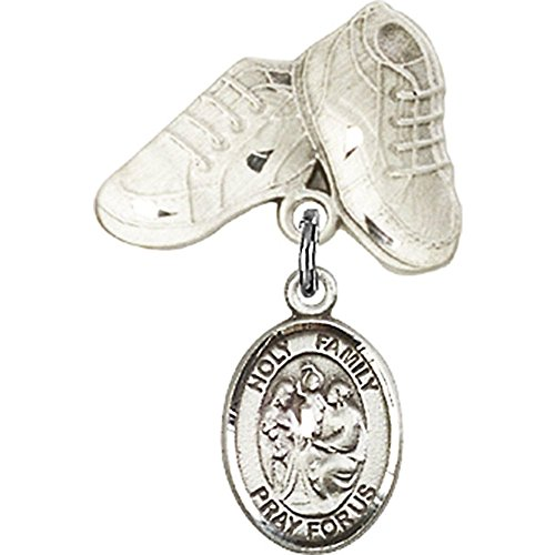 Sterling Silver Baby Badge with Holy Family Charm and Baby Boots Pin 1 X 5/8 inches by Unknown