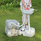 Camping in The Woods, Portable Camping Toilet Flush 20L and Durable Sink Station Hand Wash Stand Fauce