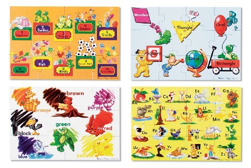 Beginning Skills Floor Puzzle Set (1 Set of Four 12-Piece Puzzles) + FREE Melissa & Doug Scratch Art Mini-Pad Bundle [04473]