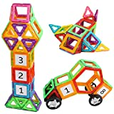 AMOSTING Magnetic Building Blocks Building Kits Stacking Toy Bricks with Wheels and Figure Blocks -46 pcs