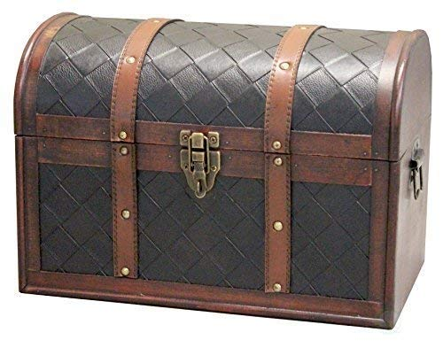 Vintiquewise Wooden Leather Round Top Treasure Chest, Decorative storage Trunk with Lockable Latch, Brown by Vintiquewise