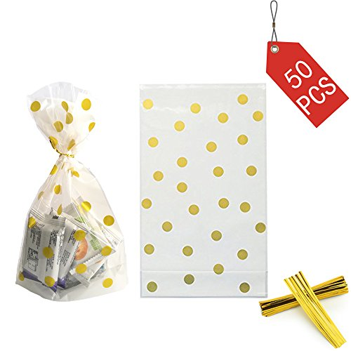 We Moment Clear Cello Bags for Treat Candy Cookie Party Favor Bags, Plastic Bags for Bakery, Cookies, Candies Chocolate,Snack Wrapping,for Wedding Shower Kid's Birthday Party,Gold Dot,50pcs