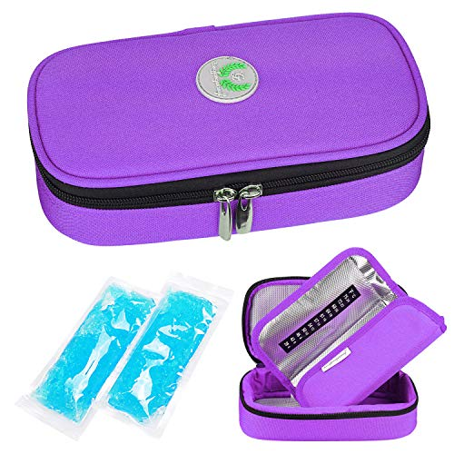 YOUSHARES Insulin Cooler Travel Case - Medication Diabetic Insulated Organizer Portable Cooling Bag for Insulin Pen and Diabetic Supplies with 2 Cooler Ice Pack (Purple)