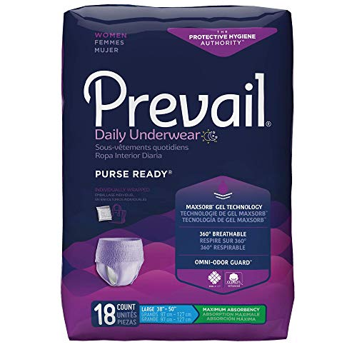Prevail PurseReady Maximum Absorbency Incontinence Underwear for Women, Large, 18-Count (Pack of 4)