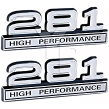 "281 4.6 Liter High Performance Engine Emblems in Chrome & White Trim - 4"" Long Pair"