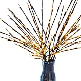 LED Branch Lights, SUKEQ 20 LED Natural Willow Twig Lighted Branch Lamp Battery Operated for Home Decoration, Christmas Party, Garden Decor (3 Branches)
