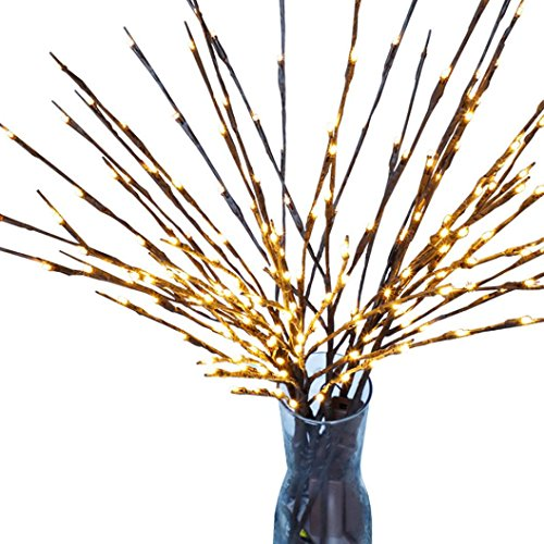 LED Branch Lights, SUKEQ 20 LED Natural Willow Twig Lighted Branch Lamp Battery Operated for Home Decoration, Christmas Party, Garden Decor (3 Branches) from SUKEQ