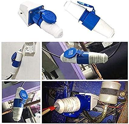 Erde Stecker//Buchse 32A 220V IP44 3-polig BlueIndustrial Site-Stecker Dasket Industrie IP44 Steckverbinder Plug /& Sockel Sockel 2P