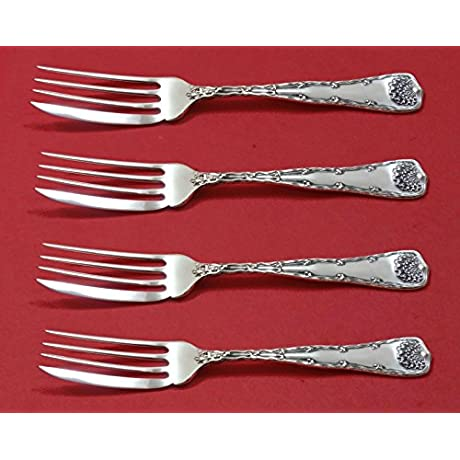 Wave Edge By Tiffany And Co Sterling Silver Fish Fork Set 4pc AS Custom 7 1 8